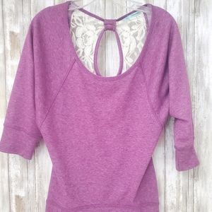 Maurices Purple Keyhole Lace Sweatshirt